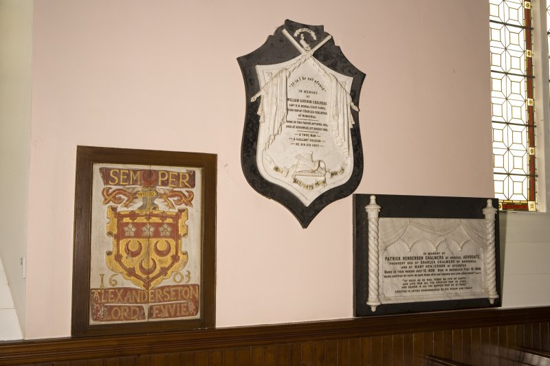Interior. Detail of memorials and 1603 banner
