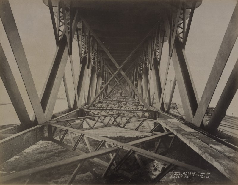 View of interior of girder, No.41 during Forth Bridge construction.