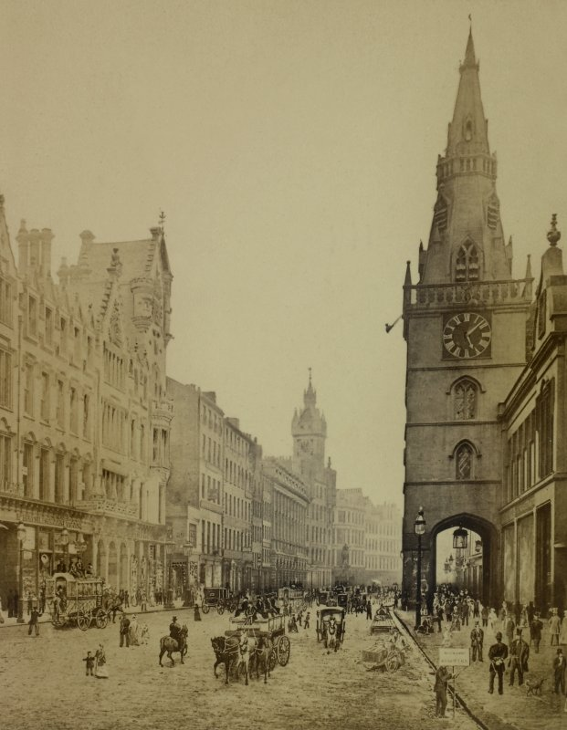 Historic photograph and drawing combined. Taken from 'Photographs of Glasgow, with descriptive letterpress', Rev. A. G. Forbes.