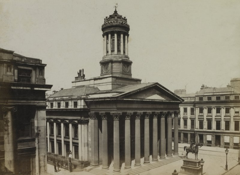 View of the Royal Exchange, the statue of Duke of Wellington and the Guardian Society Offices, Royal Exchange Square, Glasgow. The Royal Exchange now houses the Gallery of Modern Art.     PHOTOGRAPH ALBUM No.146: THE THOMAS ANNAN ALBUM.