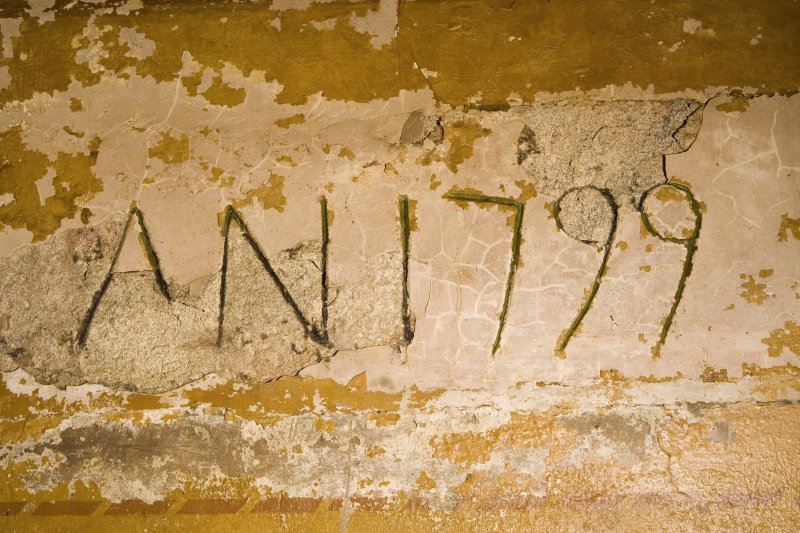 Interior. Detail of date and inscription in kitchen 'A N 1799'