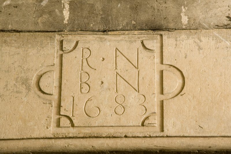 Interior. First Floor Detail of dated inscription on fireplace ' R N B N 1683'
