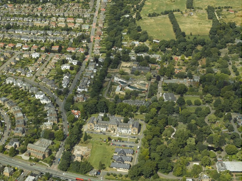 Oblique aerial view of the hospital and zoo, taken from the SSE.