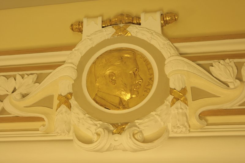 Interior. Ground floor, corridor, detail of roundel (Sullivan)