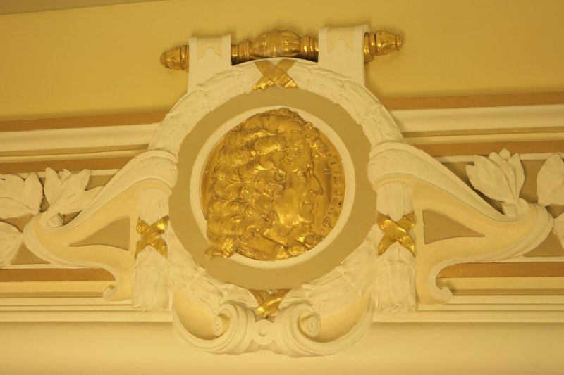 Interior. Ground floor, corridor, detail of roundel (Purcell)