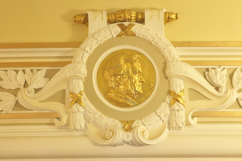 Interior view of Usher Hall, Edinburgh. Ground floor, corridor, detail of roundel (Wagner)