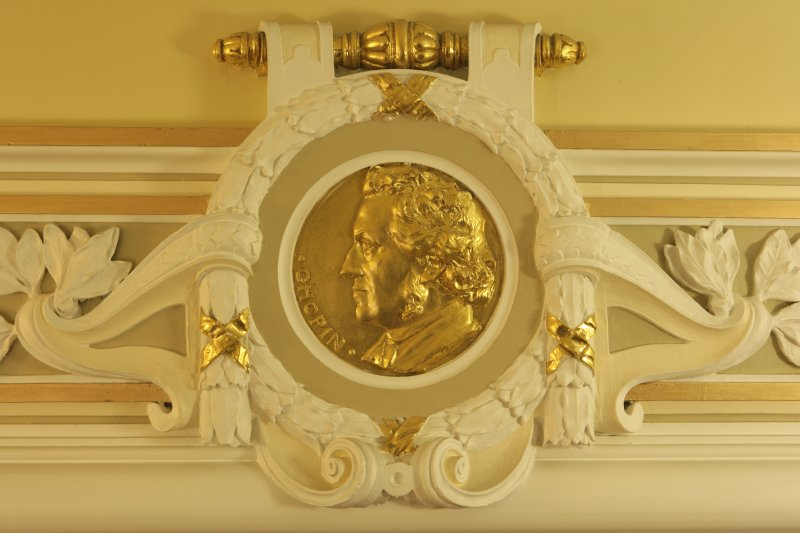 Interior. 1st floor, corridor, detail of roundel (Chopin)