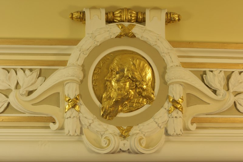 Interior. 1st floor, corridor, detail of roundel (Ossian)