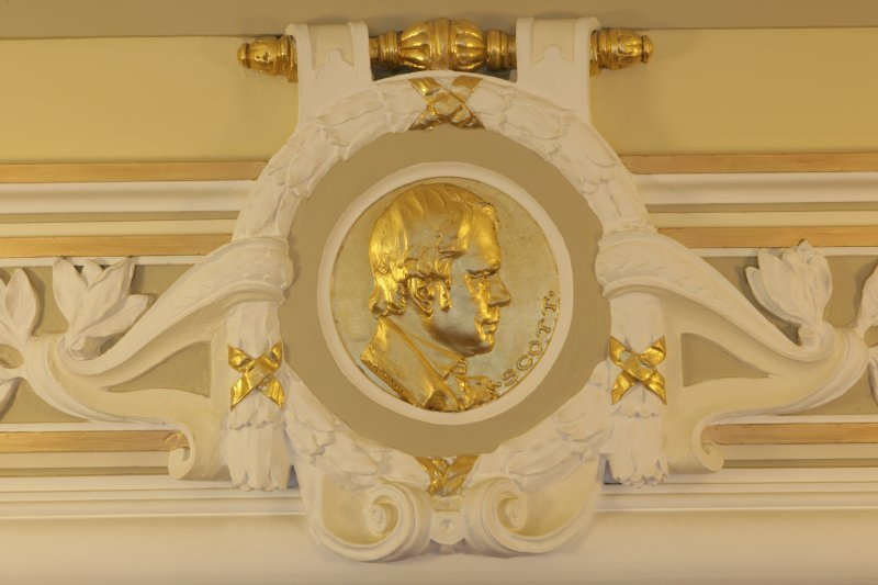 Interior. 1st floor, corridor, detail of roundel (Scott)