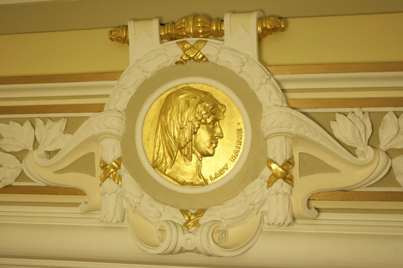 Interior. 1st floor, corridor, detail of roundel (Lady Nairne)