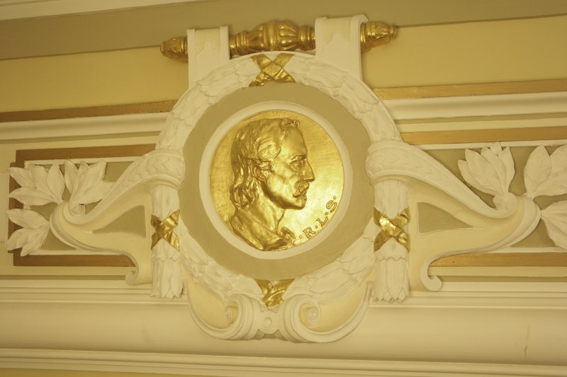 Interior. 1st floor, corridor, detail of roundel (R. L. S.)