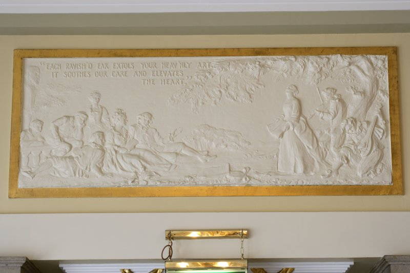 Interior view of Usher Hall, Edinburgh. 1st floor, grand circle lobby, detail of plaster frieze above doorway to stair