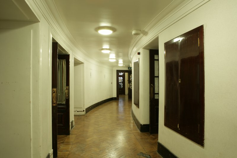 Interior. Ground floor, backstage corridor, view from N end