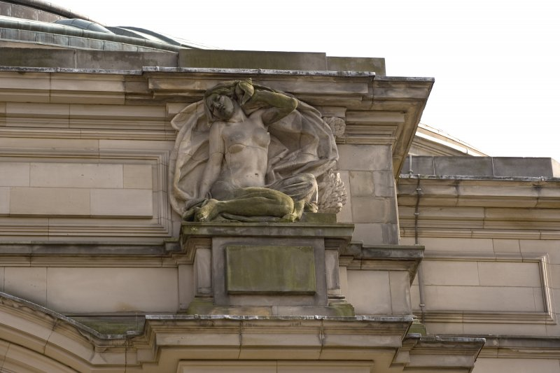 Detail of statue, representing 'The Music of the Sea', on N face, Usher Hall, Edinburgh.