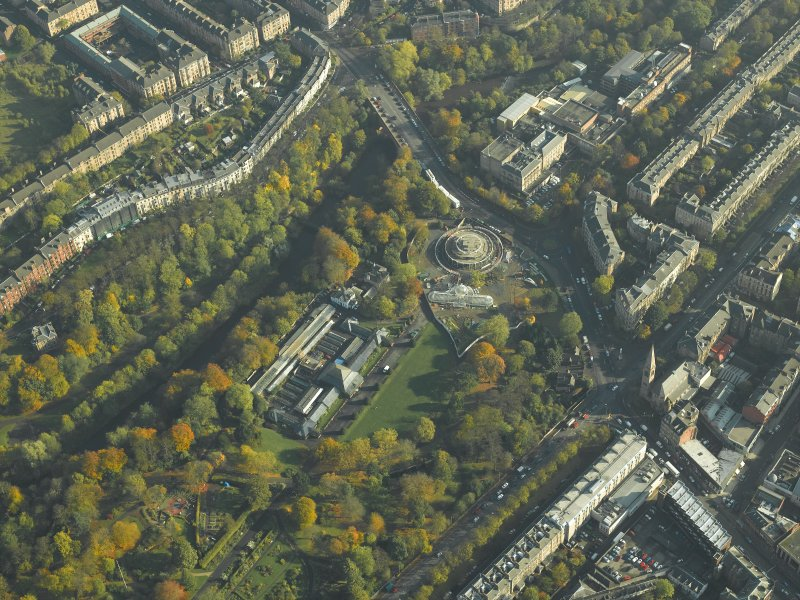 General oblique aerial view of the botanic gardens, glasshouses and conservatory, taken from the W.