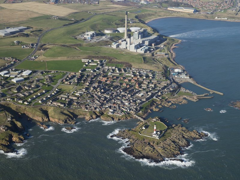 Oblique aerial view of Boddam village, Buchan Ness Lighthouse and Peterhead power station, taken from the SE.