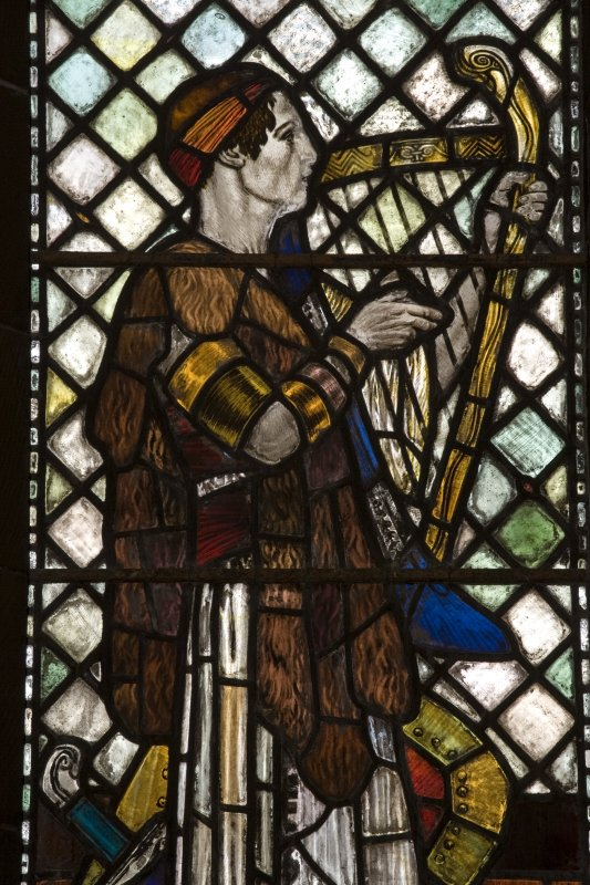 Interior.  Stained glass window depicting David designed by R Anning Bell executed by J & W Guthrie