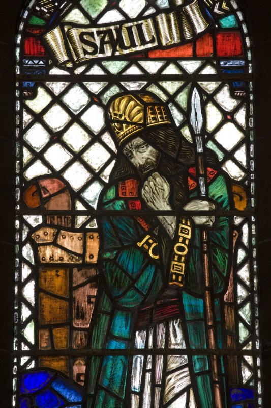Interior.  Stained glass window depicting Saul designed by R Anning Bell executed by J & W Guthrie