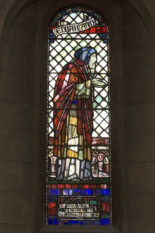 Interior.  Stained glass window depicting Elijah designed by R Anning Bell executed by J & W Guthrie