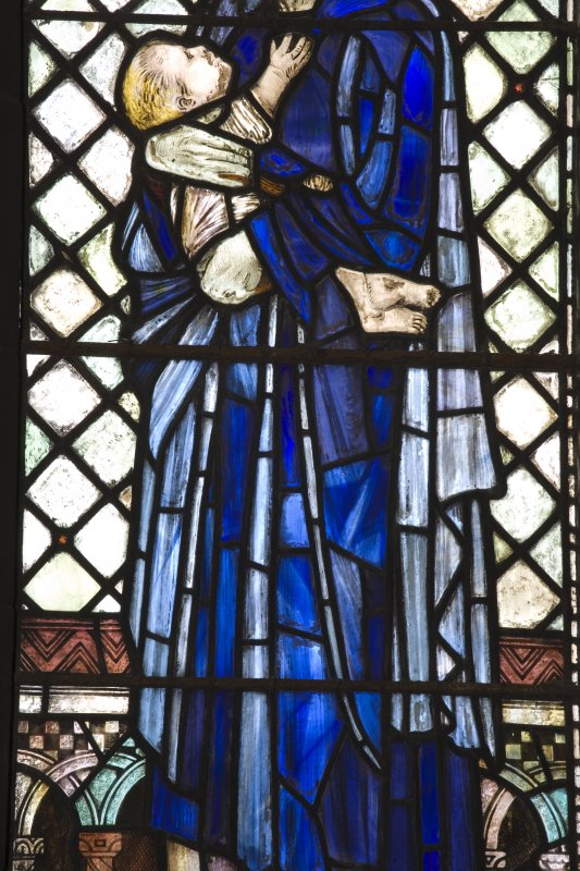Interior.  Stained glass window depicting the  Widow's son designed by R Anning Bell executed by J & W Guthrie