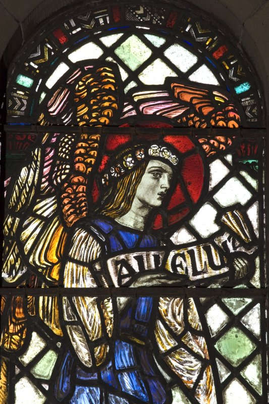 Interior.  Stained glass window depicting the  Angel Gabriel designed by R Anning Bell executed by J & W Guthrie