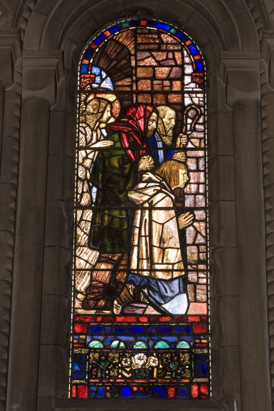 Interior.  Stained glass window depicting the  shepherds designed by R Anning Bell executed by J & W Guthrie