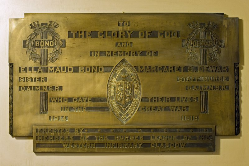 Interior. Entrance lobby.  WWI Memorial panel. Detail