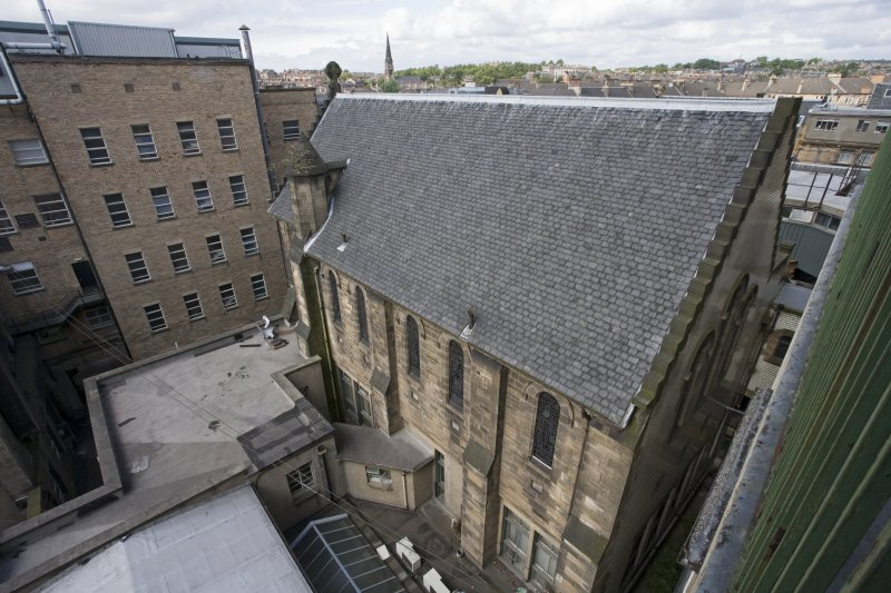 Elevated view from SE showing chapel with surrounding buildings