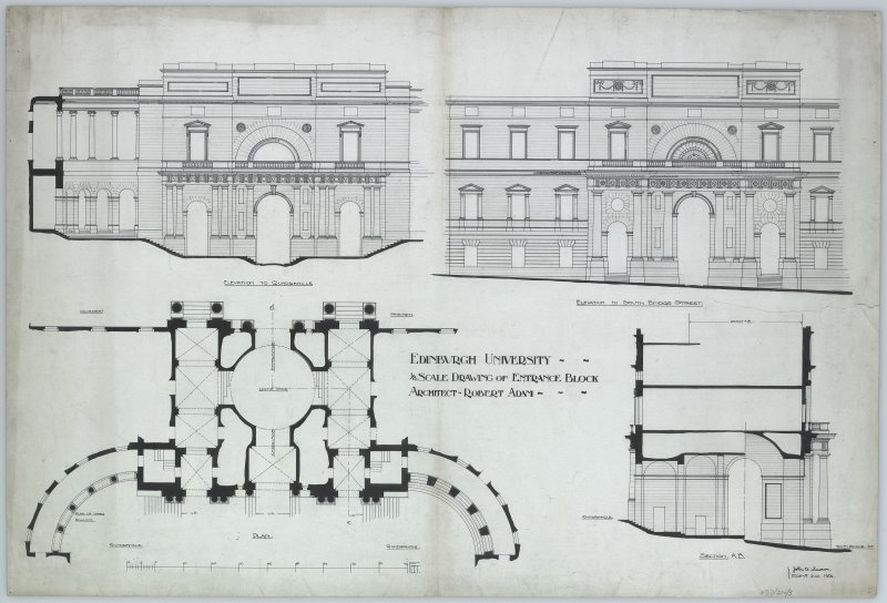"Elevations; Section; Plan of Entrance Block Mens. et delt. ""J B Lawson,  Edinr.  July 1906"".  1/8 scale drawing of entrance block. Elevation to Quadrangle and elevation to South Bridge Street."