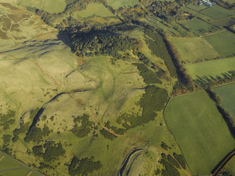 Oblique aerial view centred on the remains of the palisaded settlement, cultivation terraces and rig, taken from the SW.