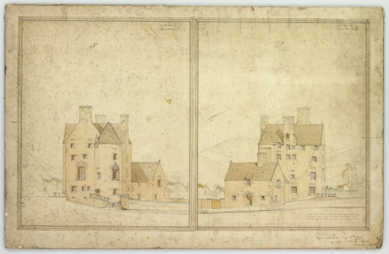 Perspective showing E and W elevations, Broughton Place.