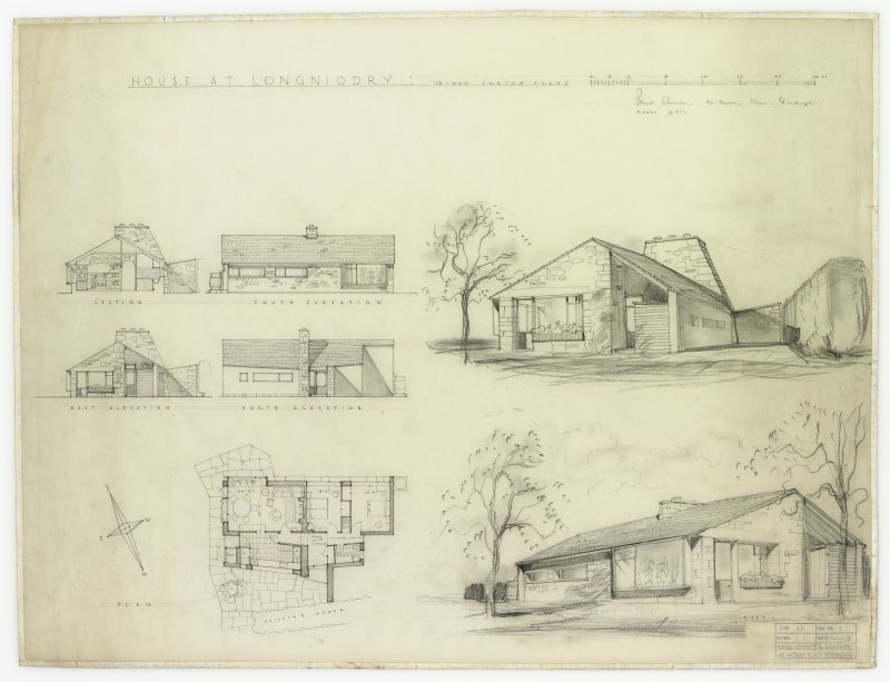 Plans, sections, perspectives, and elevations, including sketches.