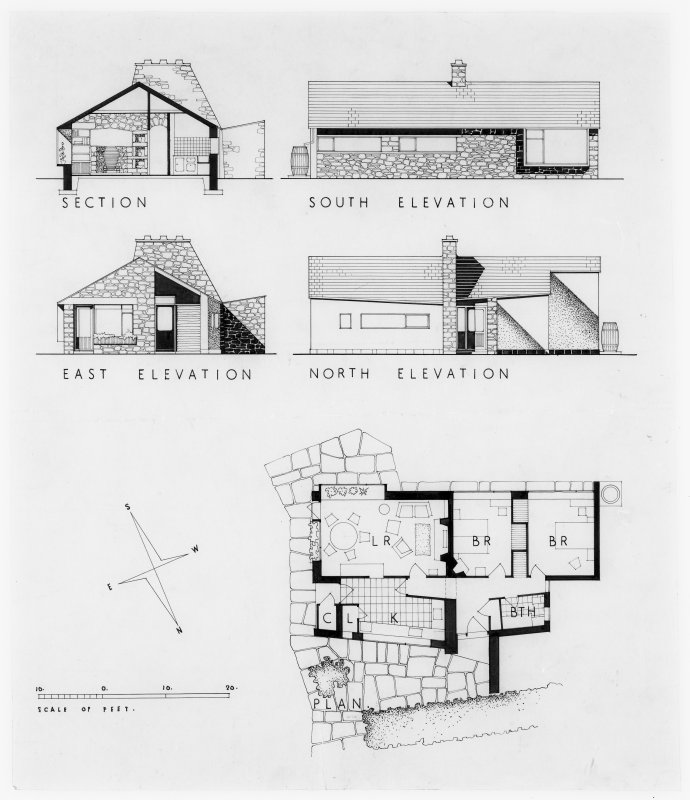 Plan and elevations.