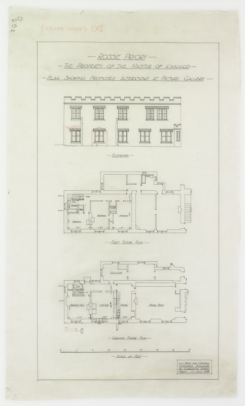 Plan and elevation showing alterations at picture gallery.