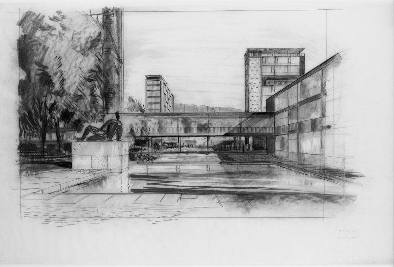 Sketch perspective of University of Edinburgh development scheme.