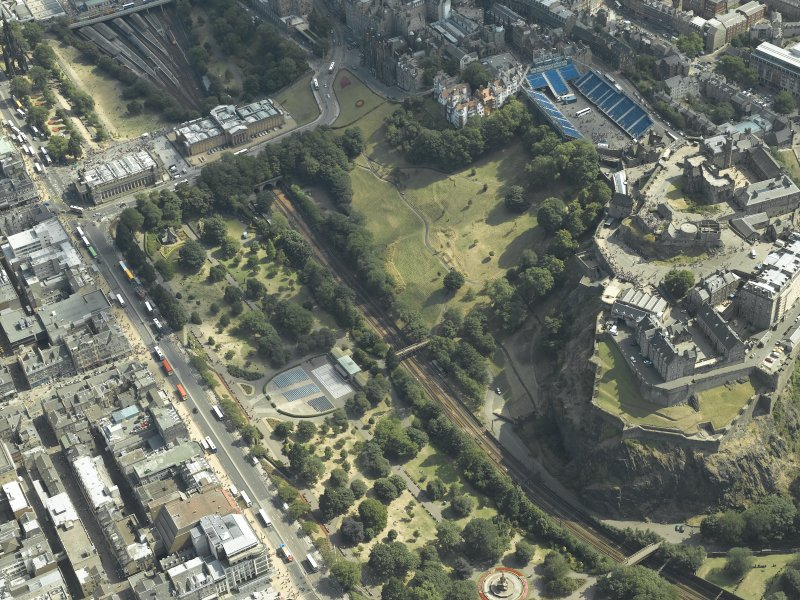 Oblique aerial view centred on the gardens with the castle adjacent, taken from the WNW.