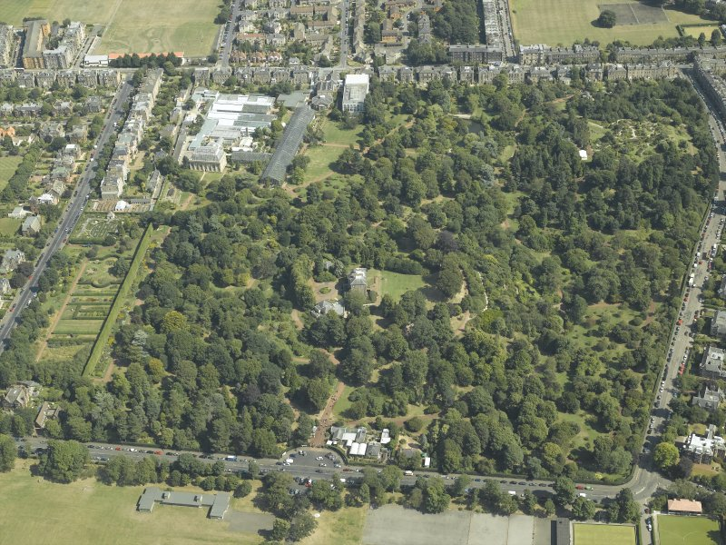 Oblique aerial view centred on the botanical garden, art gallery and house, taken from the SW.