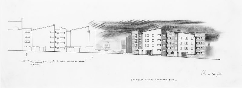 Lochend Close development.  Sketch elevation showing unexecuted design.