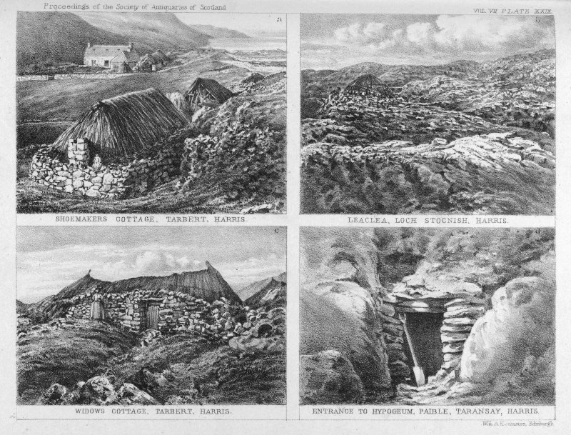 Three external views of cottages, one entrance to hypogeum. Shoemakers cottage, Tarbert, Harris Leaclea, Loch Stocnish, Harris Widows cottage, Tarbert, Harris Entrance to Hypogeum, Paible, Taransay, Harris