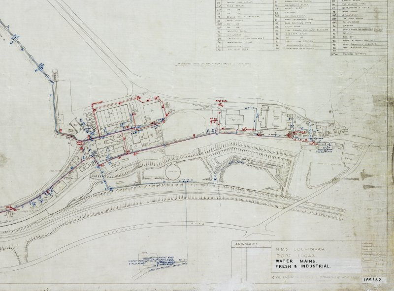 Plan of Port Edgar Royal Naval Base (HMS Lochinvar). Detail of E side of naval base. Civil Engineer in  Chiefs Department Adimiralty, Rosyth District