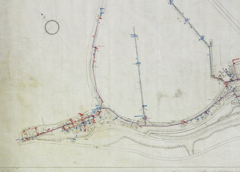 Plan of Port Edgar Royal Naval Base (HMS Lochinvar). Detail of W side of naval base showing barracks and Officer's Quarters.. Civil Engineer in  Chiefs Department Adimiralty, Rosyth District