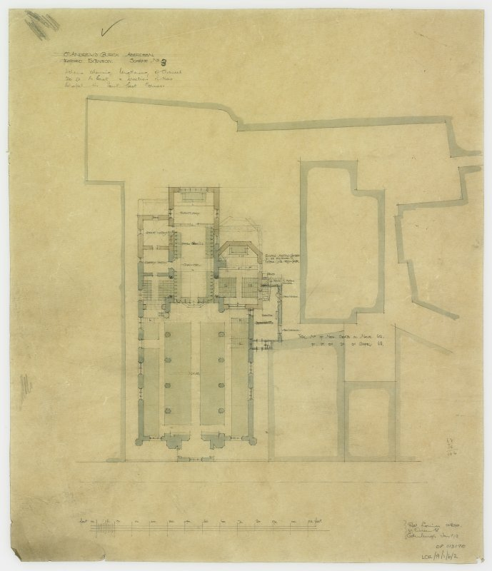 Floor plan showing alterations to chancel, new chapel and chapter house. Scheme no.3 lengthening of chancel and creation of new chapel in S.E. corner.