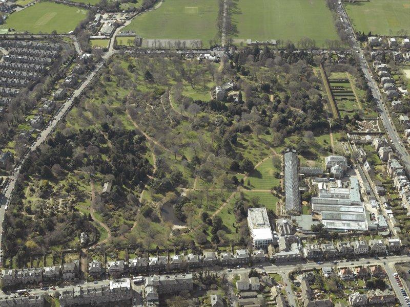 Oblique aerial view centred on the Royal Botanic Garden, Edinburgh, taken from the ENE.