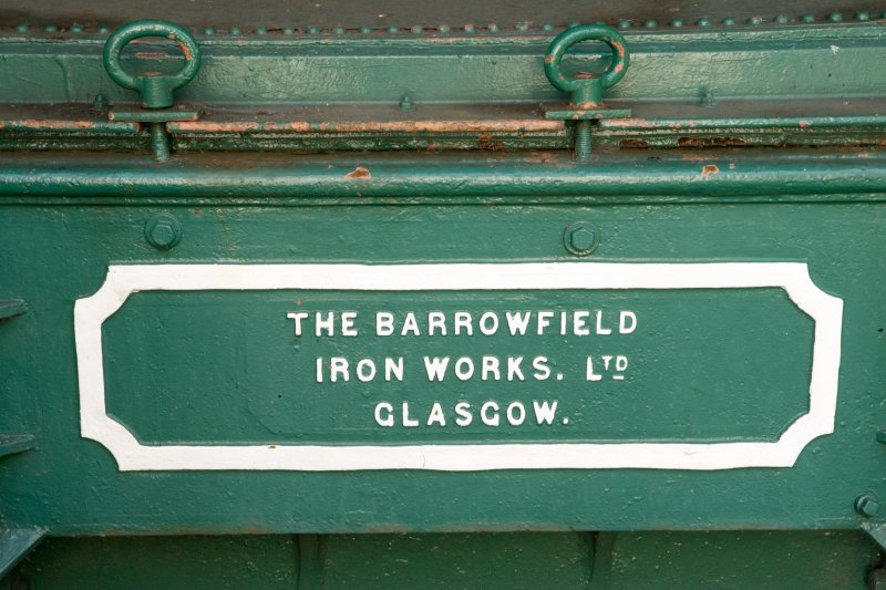 Detail of makers details on a purifier. (The Barrowfield Iron Works Ltd Glasgow) The purifier, which removes ammonia, would have contained lime to remove hydrogen sulphide as a by-product.