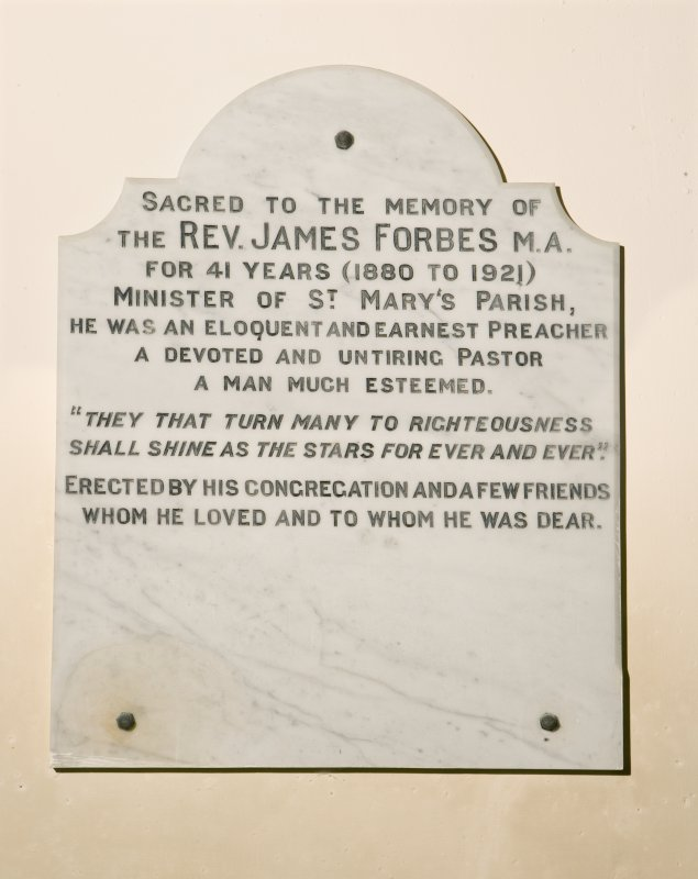 Interior. Detail of Rev J Forbes memorial