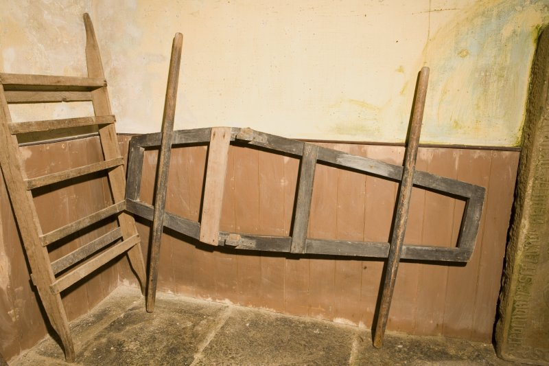 Interior. Detail of coffin carrying frame