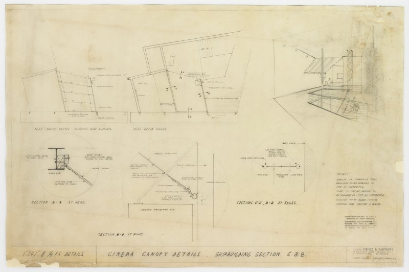 London, South Bank, Festival of Britain, Sea and Ships pavilion, shipbuilding section. Details of cinema canopy.