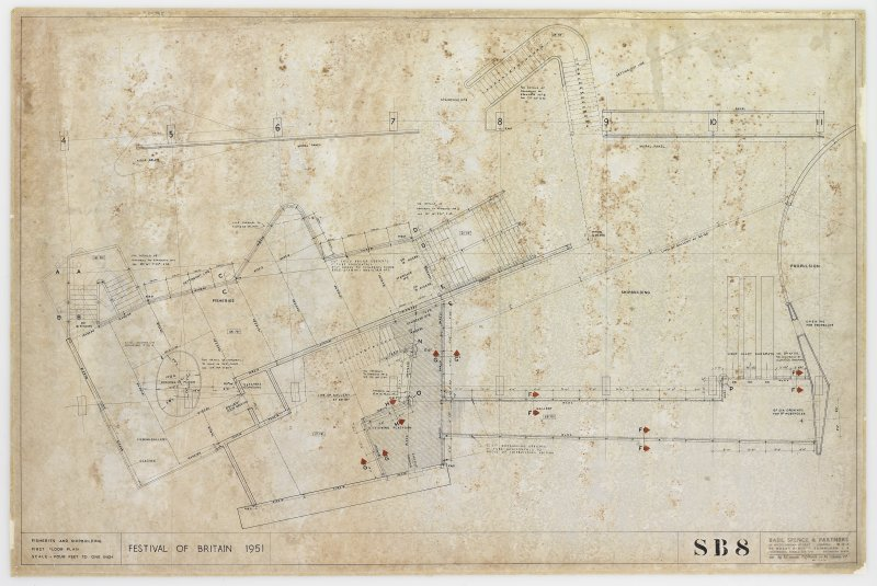 London, South Bank, Festival of Britain, Sea and Ships pavilion, fisheries and shipbuilding sections. First floor plan.