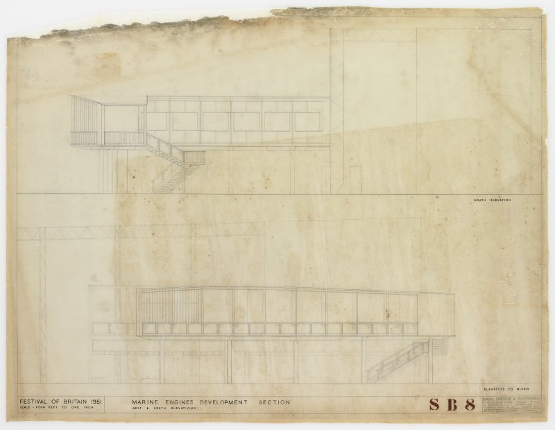 London, South Bank, Festival of Britain, Sea and Ships pavilion, marine engines development section. S and W elevations.
