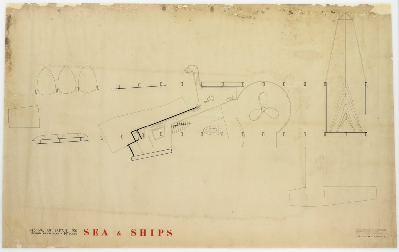 London, South Bank, Festival of Britain, Sea and Ships pavilion. Plan.